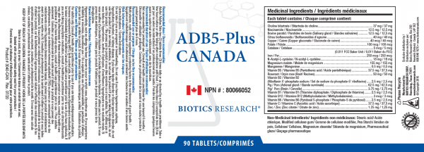 ADB5-Plus - 90 Tablets - Label