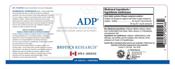 A.D.P. - 120 Tablets - Label