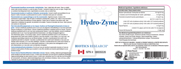 Hydro-Zyme 250 Tablets - Label