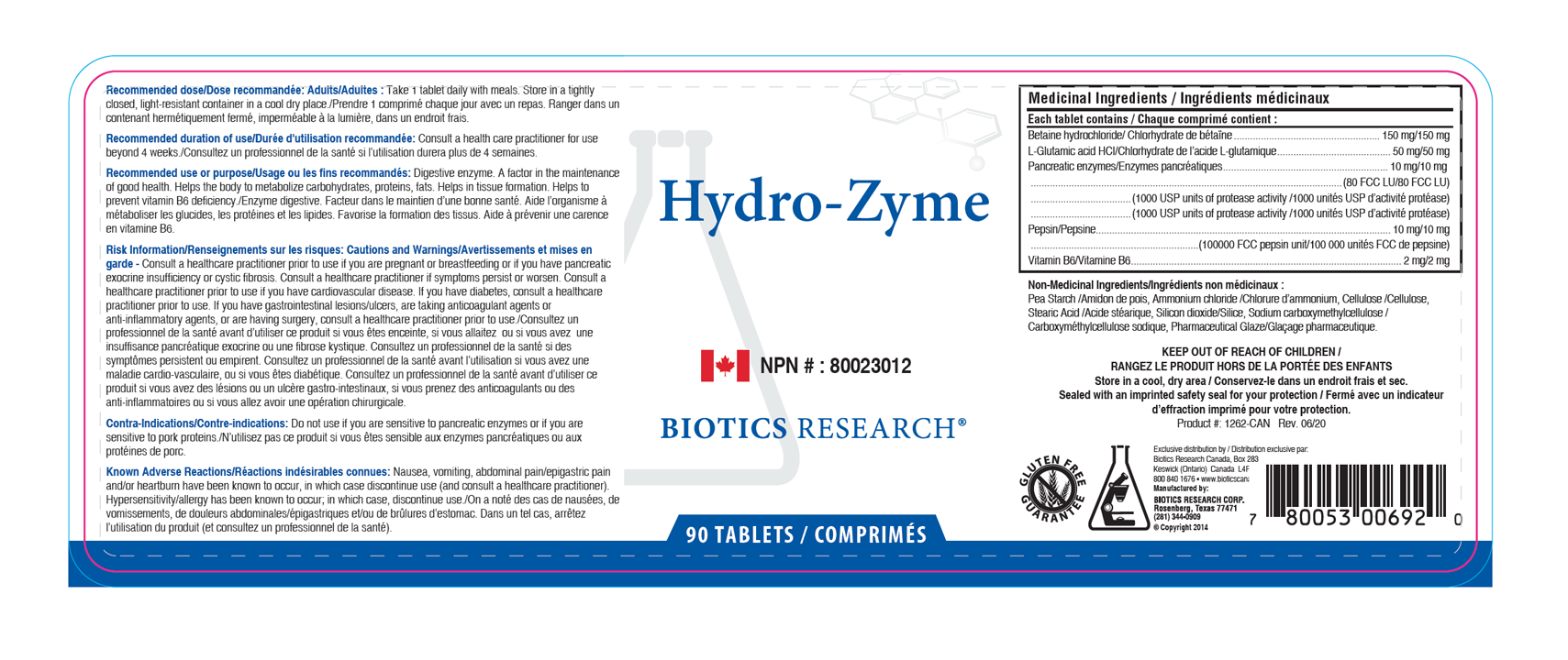 Hydro-Zyme - 90 Tablets - Label