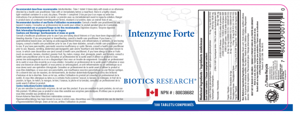 Intenzyme Forte 100 Tablets - Label