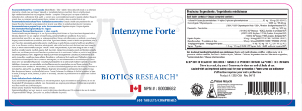 Intenzyme Forte 500 Tablets - Label
