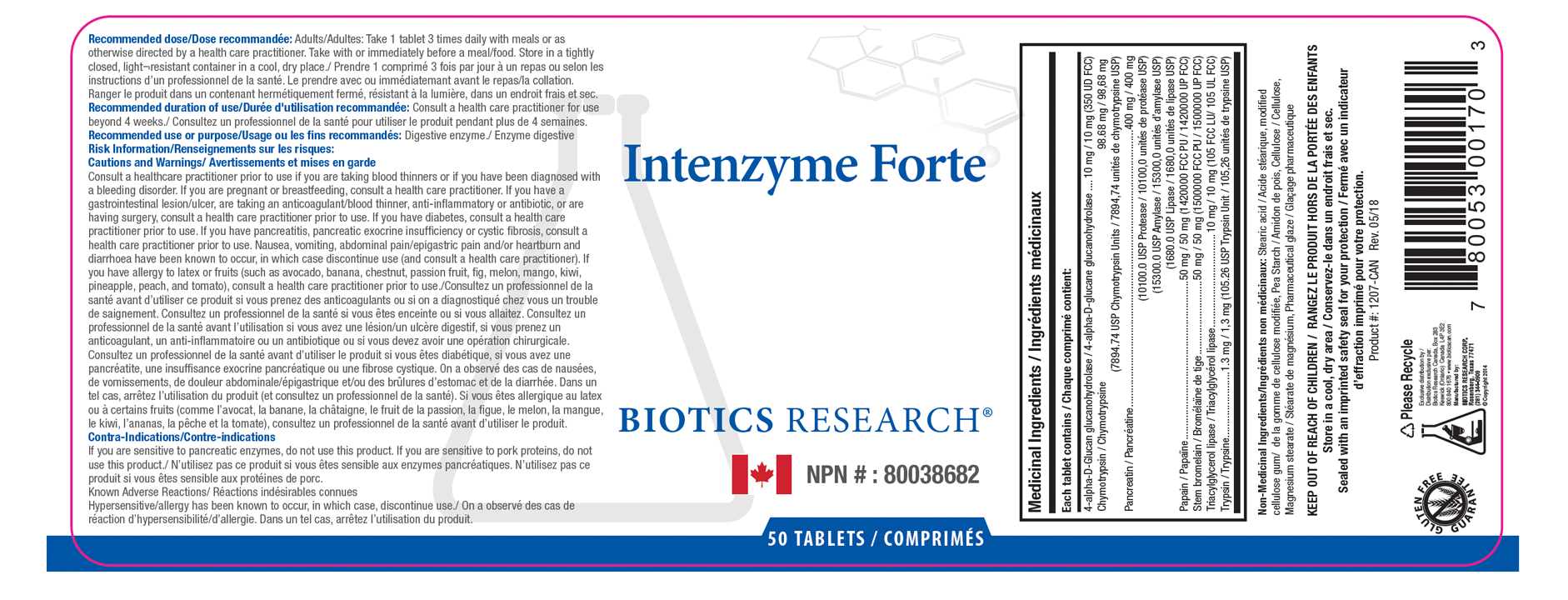 Intenzyme Forte 50 Tablets - Label